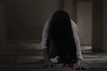 Girl Zombie In Blood. Asian Wo...