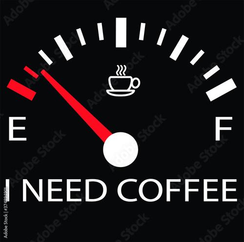 I NEED COFFEE SPEEDOMETER WALLPAPER BLACK Canvas-taulu