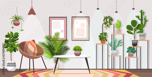 Cuadros en Lienzo modern living room interior home apartment with houseplants horizontal vector il