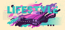 Colorful Abstract Banner Design With Vintage Car And Typography. Vector Illustration.