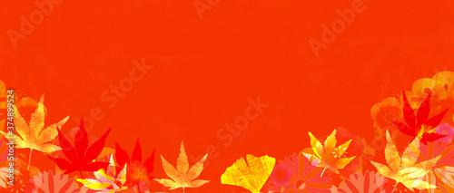 Fototapeta 紅葉のある秋のイメージの背景イラスト obraz na płótnie