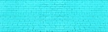 Bright Turquoise Old Shabby Brick Wall Wide Texture. Abstract Light Teal Widescreen Background