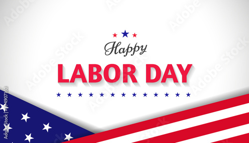 Fényképezés Happy Labor Day greeting banner design concept with american flag and stars on white background