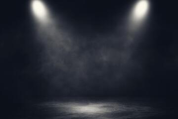 Empty space of Studio dark room concrete floor grunge texture background with spotlight and white smoke.