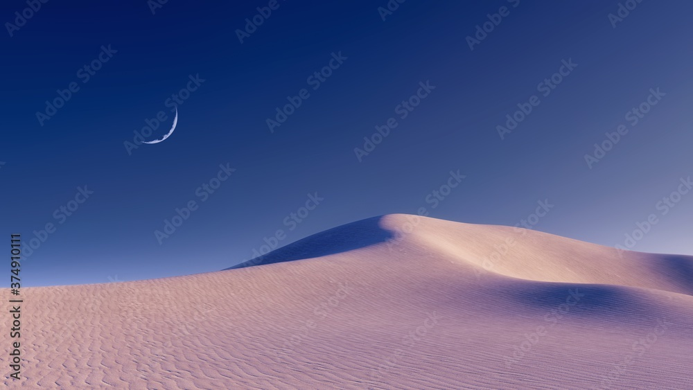 Fototapeta Fantastic unreal sandy desert landscape with massive sand dunes and half moon in clear night sky. With no people minimalist concept 3D illustration from my 3D rendering file.