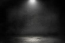 Empty Space Studio Dark Room Of Concrete Floor With Spot Lighting And Smoke In Black Background.