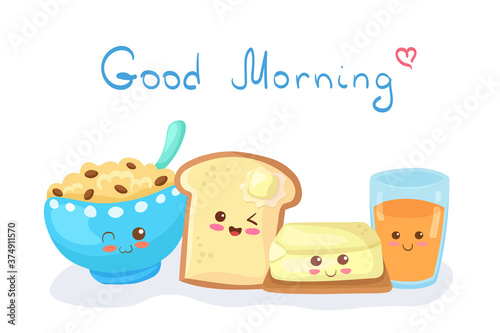 Fotografie, Obraz Kawaii Cereal Bowl, Toast with Butter & Orange Juice vector characters isolated on white background