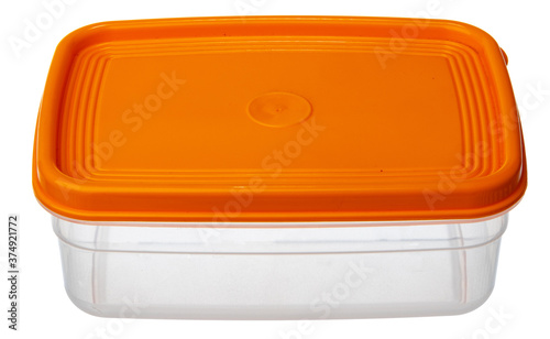 Photo Plastic storage container for food isolated on white