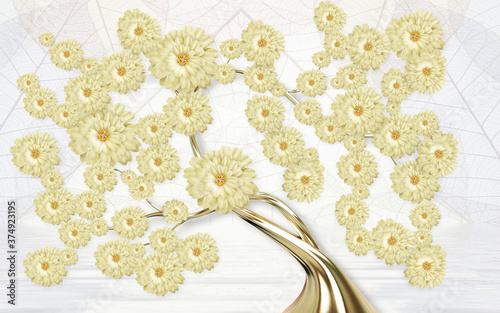 Obrazy do łazienki  3d-mural-wallpaper-abstract-gray-background-tree-with-golden-stem-and-flowers-will-visually