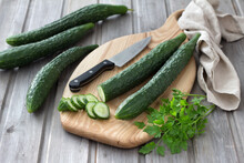 Long Chinese Cucumbers On A Cu...