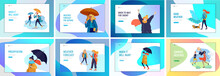 People Character In Various Weather Conditions. Man And Woman In Seasonal Clothes And Enjoys Walking On Street In Rain, Snowfall, Summer Heat. Colorful Vector Cartoon Illustration