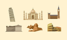 Famous World Landmarks Collection. Detailed Vector Illustrations Of Taj Mahal, Leaning Tower, Big Ben, Parthenon, Egyptian Sphinx And Pyramids