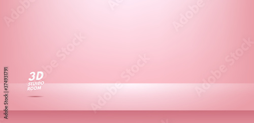 Empty bright pink color studio table room background, Product display with copy space for display of content design. Rose gold banner for advertise product on website. Vector illustration.