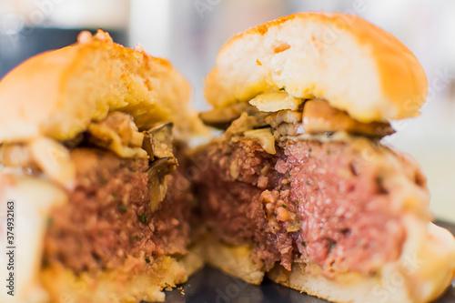 Valokuvatapetti Hamburger with cheese and mushrooms