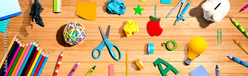 Photo Collection of school supplies overhead view - flat lay