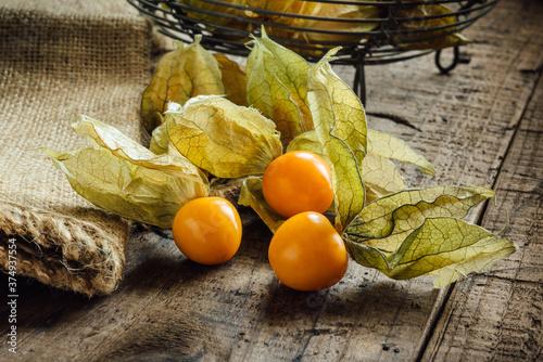 Physalis alkekengi berries on the table. Canvas Print