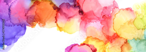Abstract bubble blot watercolor rainbow color painting background Fotobehang
