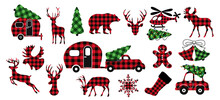 .   Diverse Collection Of Christmas Design Elements. Buffalo Plaid Festive Decor. Variety Of Checkered Objects On A White Background. Vector Illustration.
