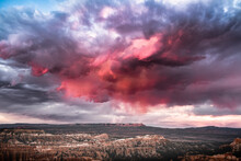 Red Clouds Threaten Storm Over Bryce Canyon National Park. Utah, USA.
