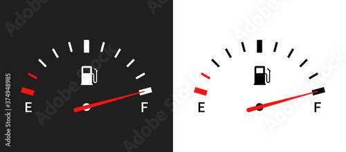 Obraz Fuel indicators gas meter. Gauge vector tank full icon. Car dial petrol gasoline dashboard - fototapety do salonu