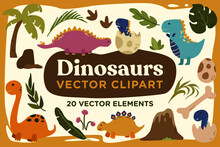 Cute Ancient Dinosaurs Jurrasic Illustration Vector Cliparts