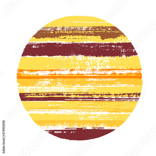 Abrupt circle vector geometric shape with stripes texture of ink horizontal lines Canvas Print