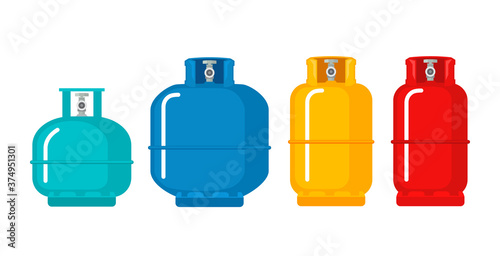 Gas cylinder vector tank. Lpg propane bottle icon container. Oxygen gas cylinder canister fuel storage