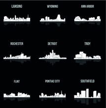 Set Of 9 City Silhouette In Mi...
