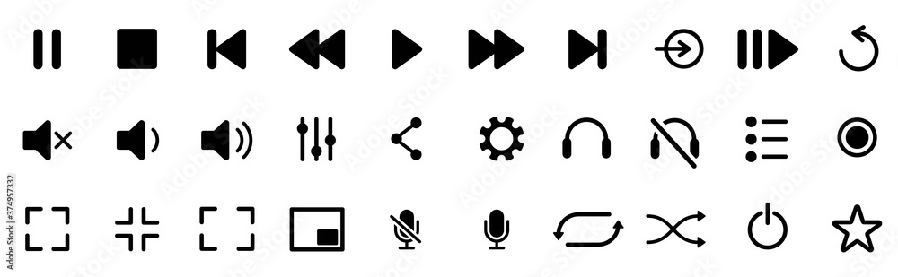 Media player icons set. Collection of multimedia symbols and audio, music speaker volume, interface, design media player buttons. Play, pause, stop, record, forward, rewind. Vector illustration