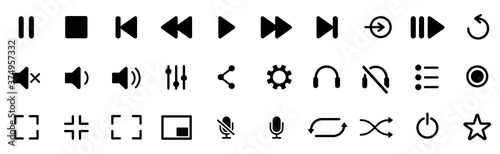 Media player icons set Fotobehang
