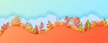 Autumn Leaves Wavy Border In Paper Cut Style. Vector 3d Illustration Of Different Color Leaf, With Realistic Shadow. Cut Out Of Cardboards Elements, Decoration Of Autumn Holiday On Blue Sky Background