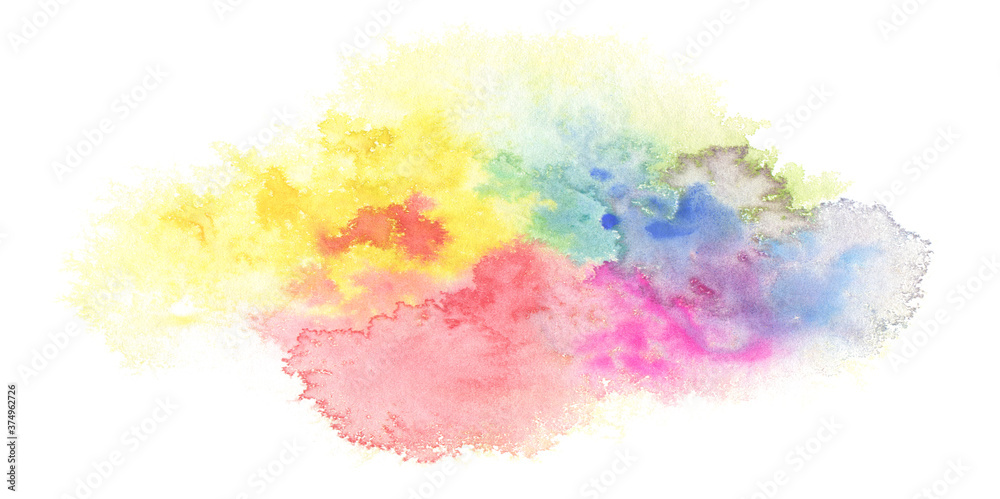 Fototapeta Abstract color watercolor cloud and ink blot painted background.