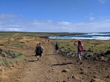 Hiking To The Green Sand Beach In The Southern Most Point Of Big Island, Hawaii.