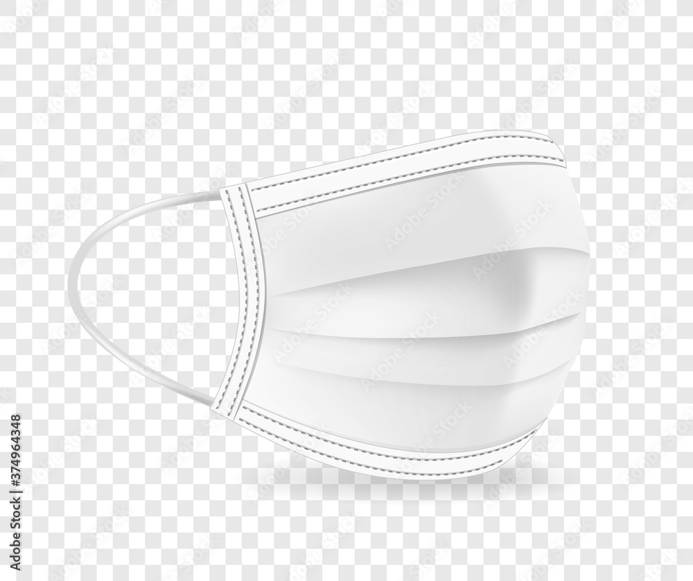 Fototapeta White protective face mask vector illustration isolated on transparent background