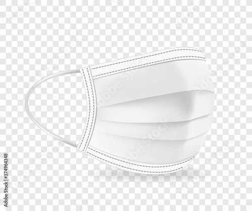 Obraz White protective face mask vector illustration isolated on transparent background - fototapety do salonu