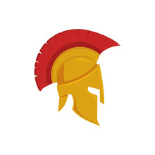 Vector Illstration Of Spartan Helmet Illustration. Flat Design. Isolated.