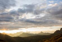 Mountain Landscape At Sunset, ...