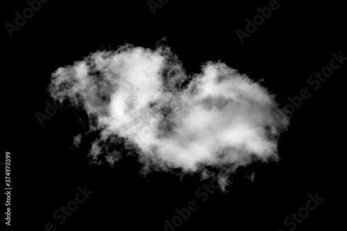 Obraz white fluffy cloud isolated on black background - fototapety do salonu