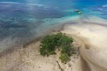 Aerial View Of Mangroves With Anchored Fishing Boats At Anse A La Mouche, Mahé, Seychelles