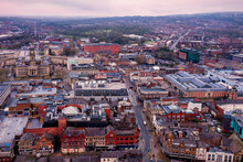 Aerial View Of The City On Cloudy Day In Bolton, UK
