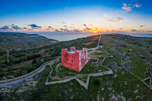 Aerial View Of The Red Tower In Mellieha Malta