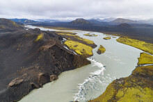 Aerial View Of River Tungnaa With Waterfall Between The Mountains, Fjallabak Nature Reserve, Highlands Of Iceland