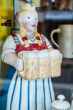 German Waitress Statue Bringing Beers To The October Fest