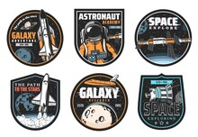 Galaxy Research, Space Explore And Astronaut Mission Icons. Shuttle Launch Vehicle And Orbiter Flying In Galaxy, Satellite Or Telescope Discovering Planets And Stars, Space Station Module Vector Badge