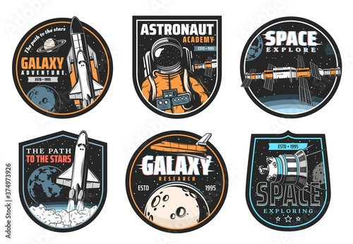 Foto Galaxy research, space explore and astronaut mission icons