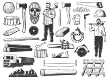 Lumberjack, Lumbering And Logging Wood Icons, Lumber And Forestry Industry, Vector. Lumberjack Logger Woodwork Man Skull Beard In Hat, Woodcutter Axe, Saw And Logging Machine, Tree Logs And Stumps