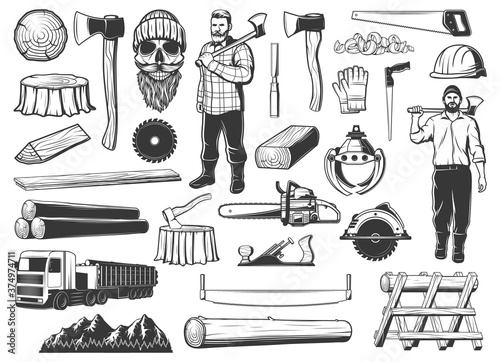 Obraz Lumberjack, lumbering and logging wood icons, lumber and forestry industry, vector. Lumberjack logger woodwork man skull beard in hat, woodcutter axe, saw and logging machine, tree logs and stumps - fototapety do salonu