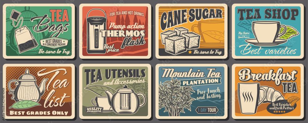 Fototapeta Hot tea drink retro posters, vector tea bags, vacuum flask and cane sugar, porcelain cup, mint leaf and teapot. Mountain plantation tour, bush and croissant, tea ceremony or utensil shop assortment