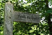 Public Footpath Old Wooden Sig...
