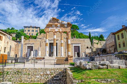 Fotografia Capitolium of Brixia or Temple of Capitoline Triad or Tempio Capitolino ruins an